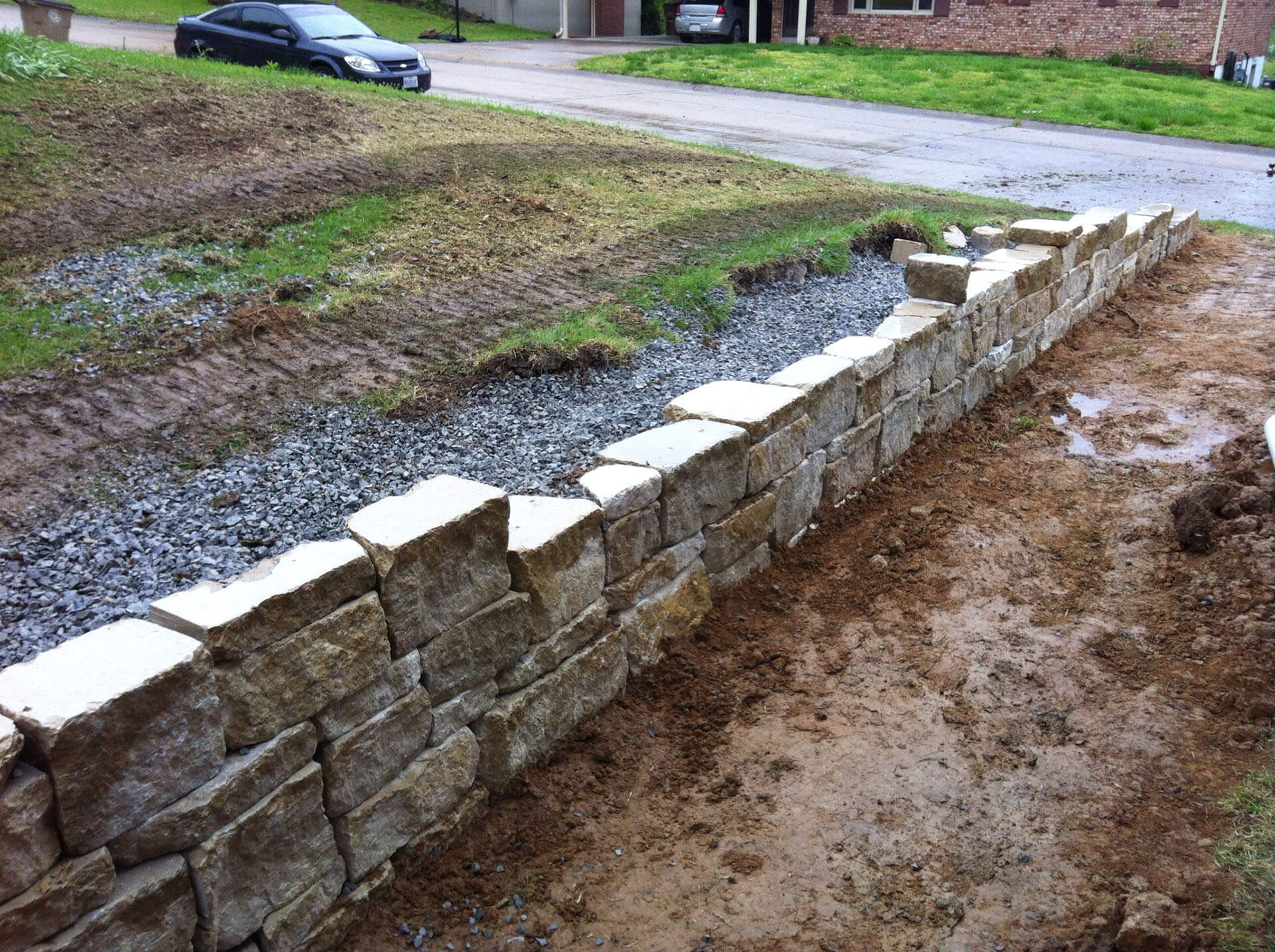 natural stone retaining walls Cape Girardeau, MO Project