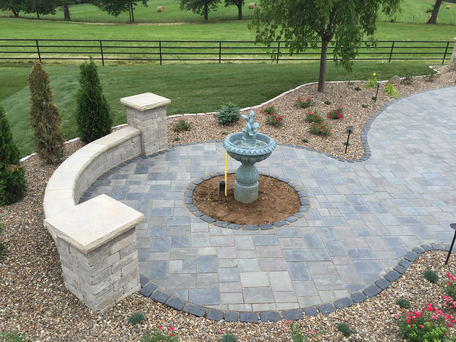 stone pathway, wall and fountain for a home in Jackson, MO Project