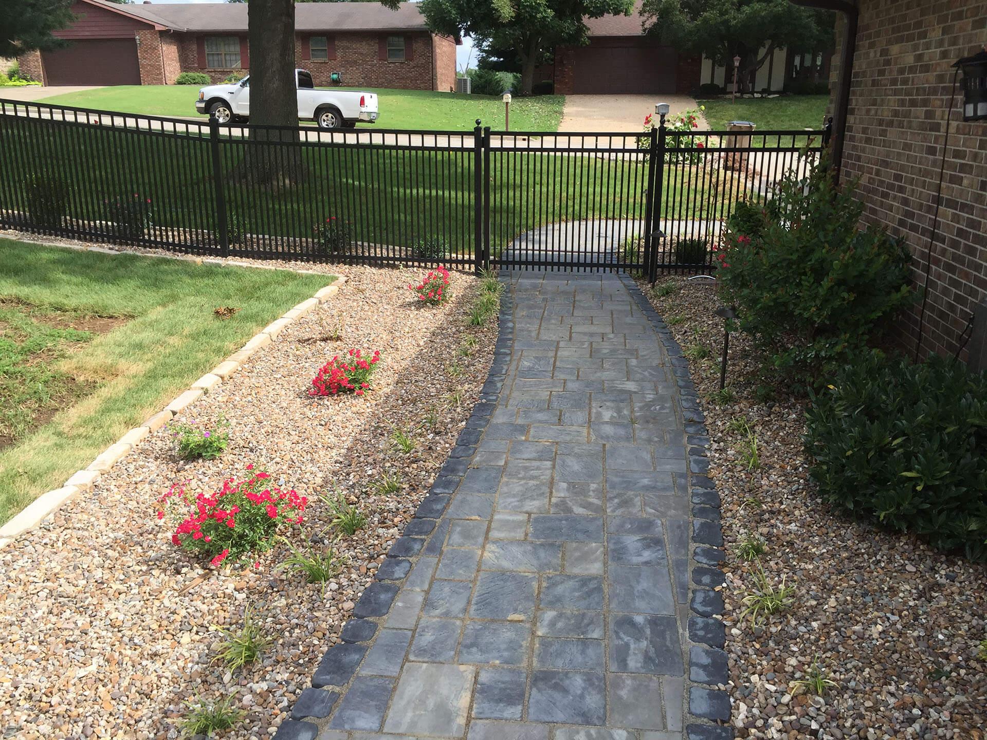 flagstone path with a pebble garden Cape Girardeau, MO Project