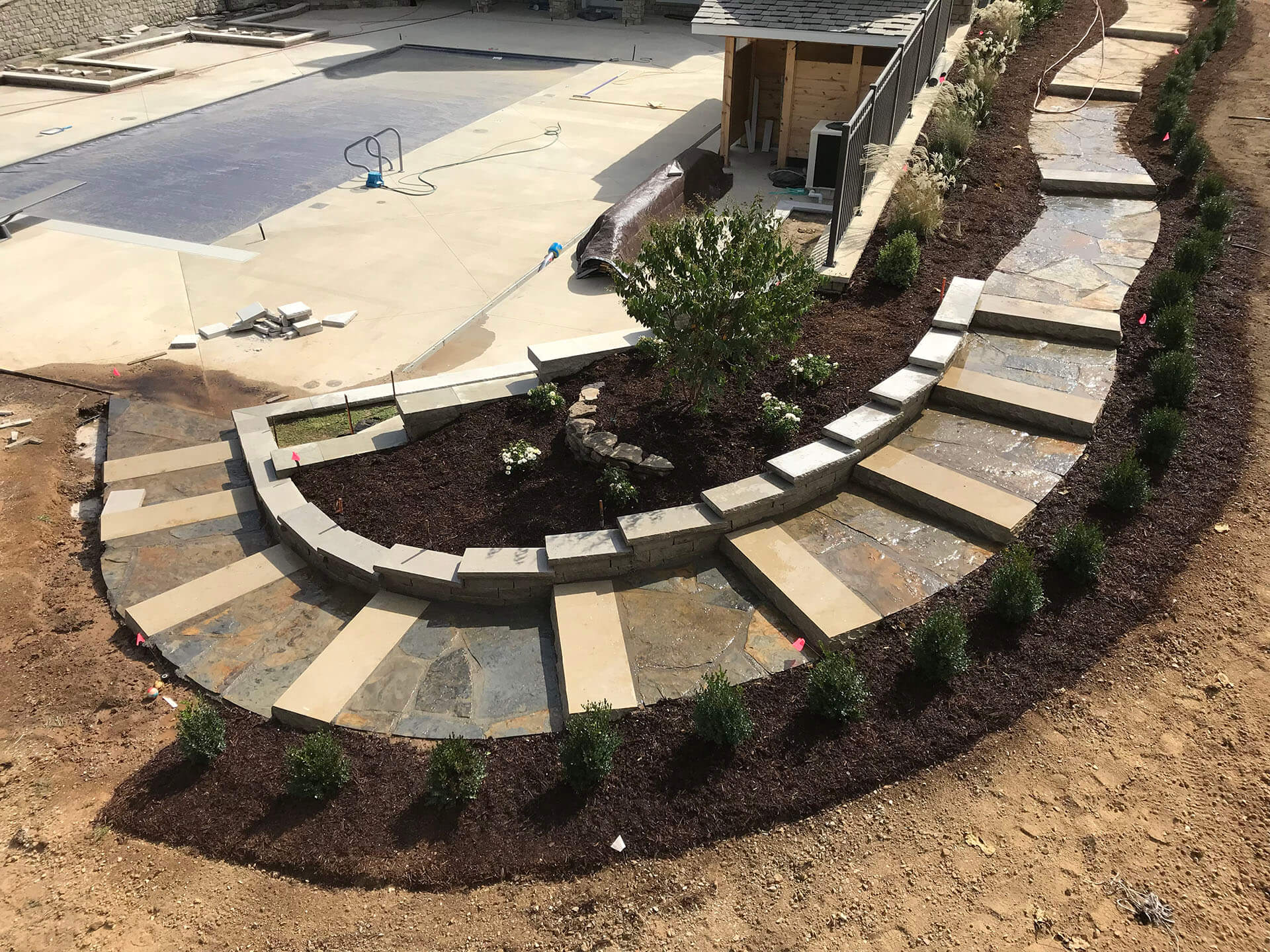 natural stone walkway and steps Dexter, MO Project