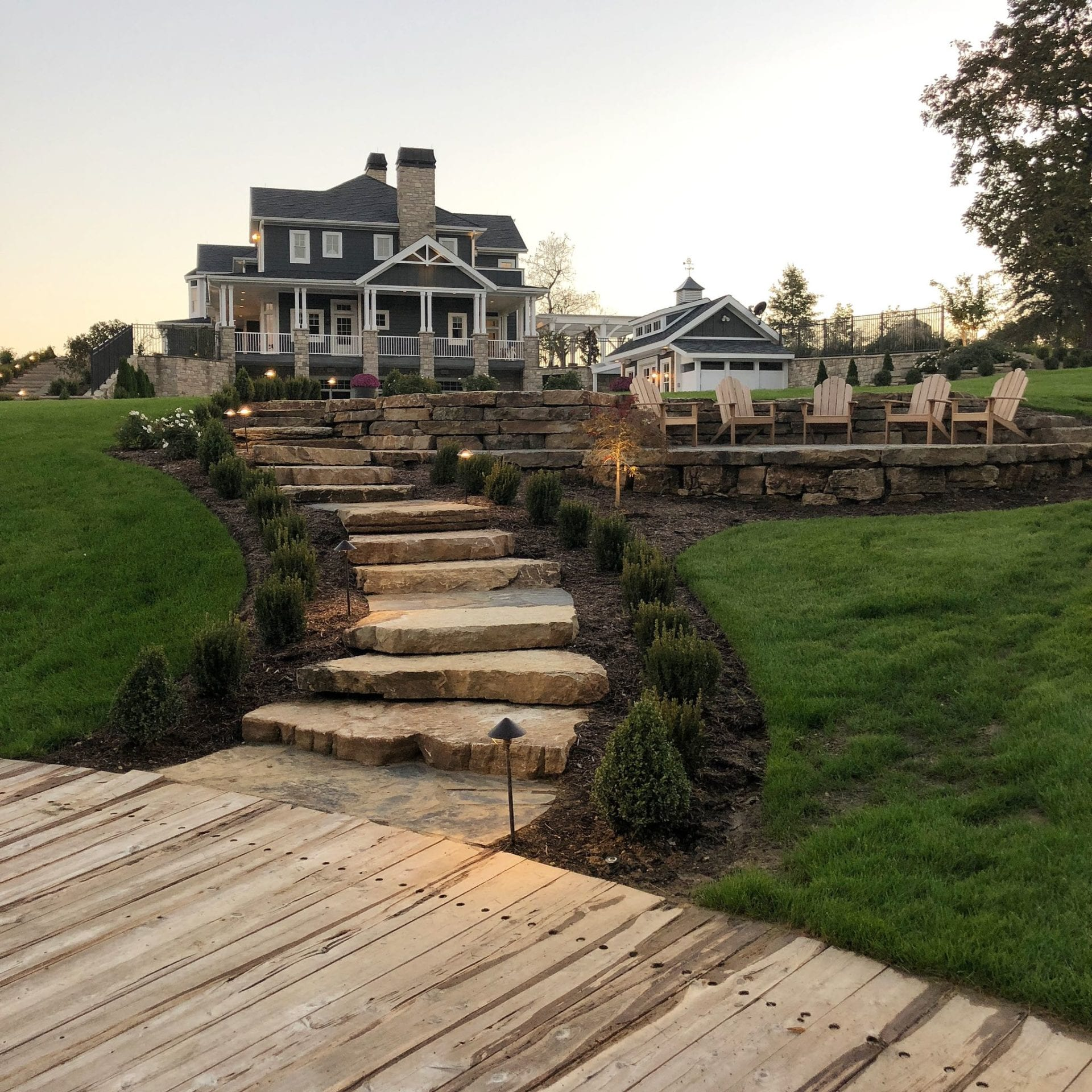 Natural stone steps and walls with sitting area